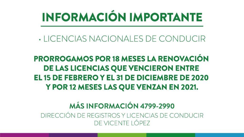 Prórroga licencias Vicente López